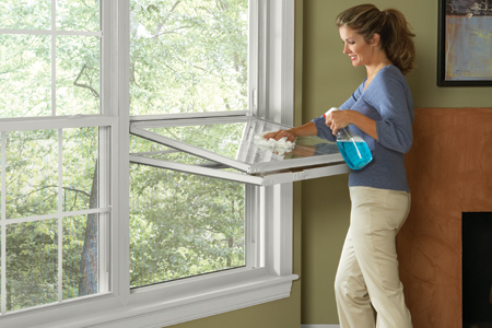 Double Hung Windows are made where sashes tilt in for Easy Cleaning