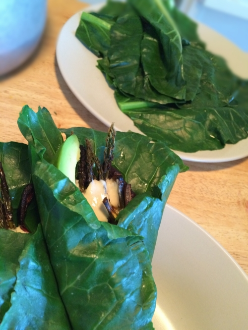 Collard Wraps with Roasted Veg, Tahini Mustard Sauce, and Avo—developed for a client on the  Standard Process Purification Cleanse.