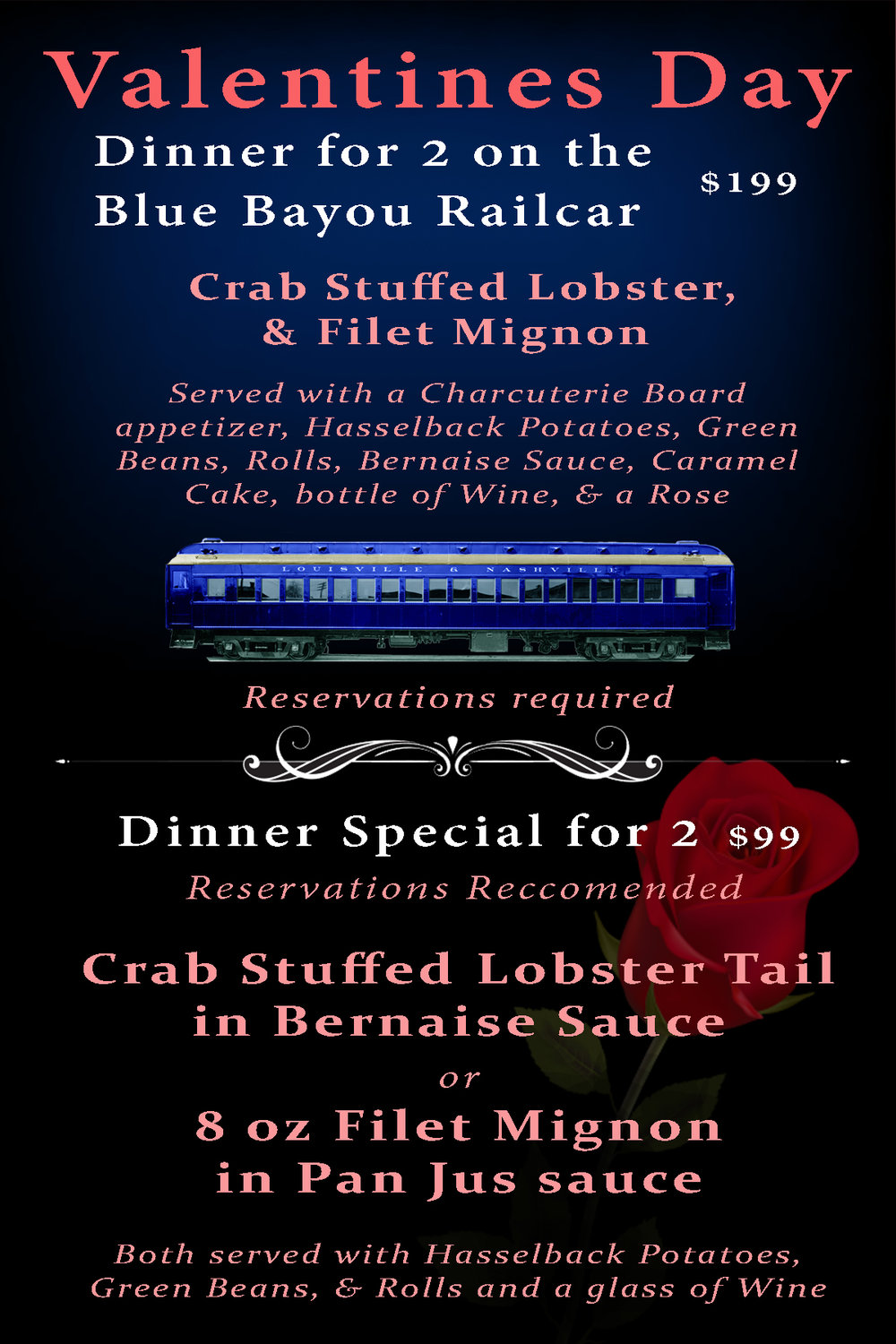 Reservations for the Blue Bayou private booth, click here - Reservations for the taproom Dinner Special, follow the embedded reservation window below