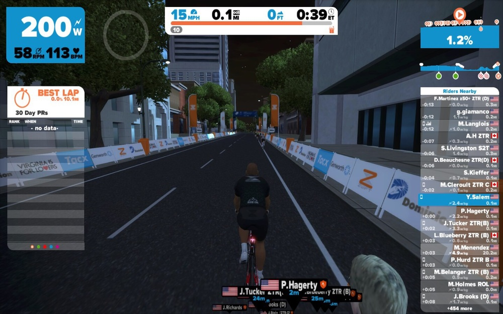 I rode the UCI championship course (Virginia) for the first time. The course is available 2-3 days/week on Zwift.