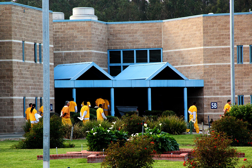 Inmates walk in line around the West County jail's yard. PHOTO: Rachel Witte