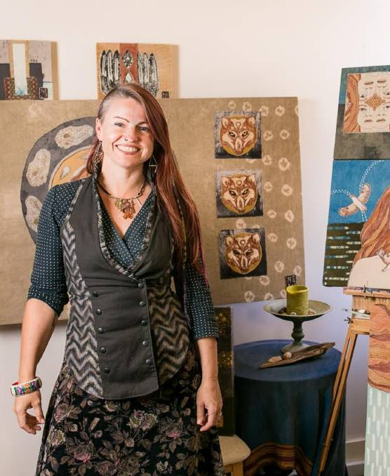 """EUROPEAN DREAM: """"Under the Dreaming"""" Artist Naomi Wild in her Renew studio with some of her work. Pictures: Edwina Pickles"""
