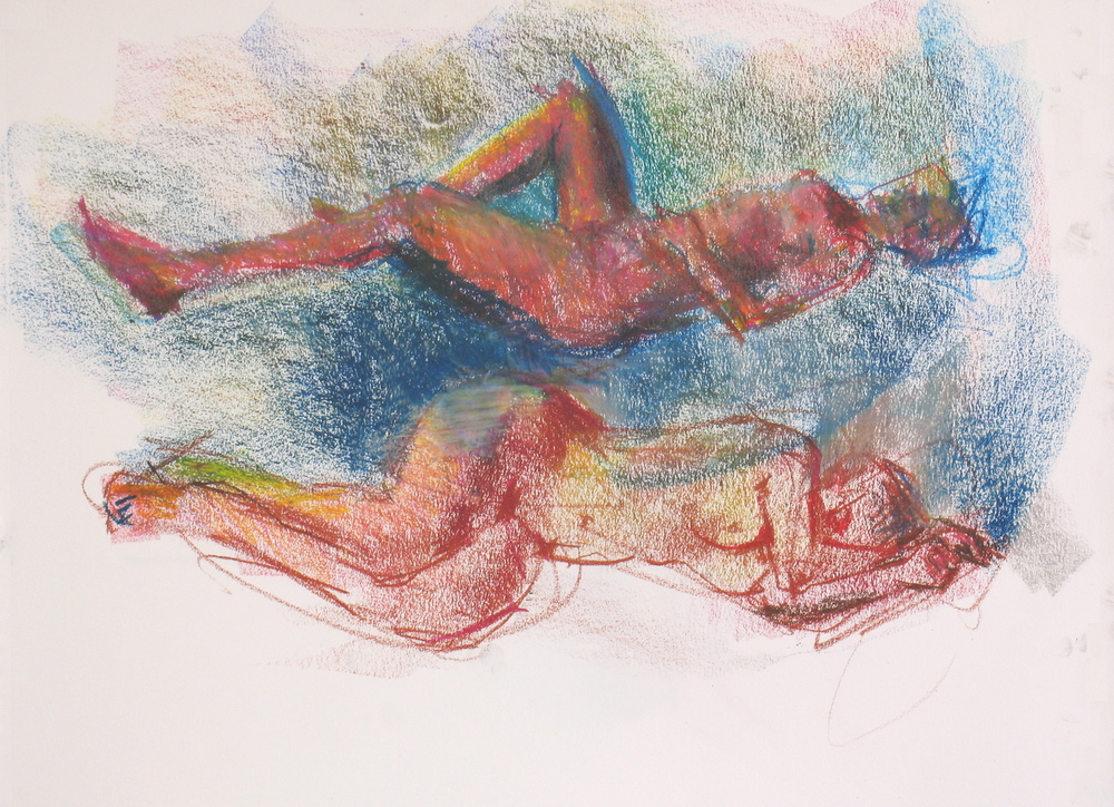 "back to back 2016 wax crayon 24"" x 18"" Two 20-minute poses, leaving out the bench and so on. I'm thinking about turning this drawing on its side for a couple of dancers or floating people."