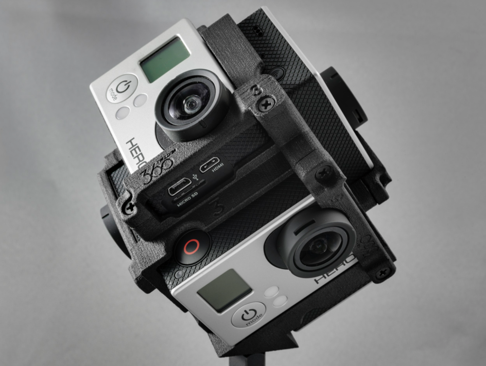 The Freedom360 mount is an example of a way to make 360 spherical video with GoPro cameras.