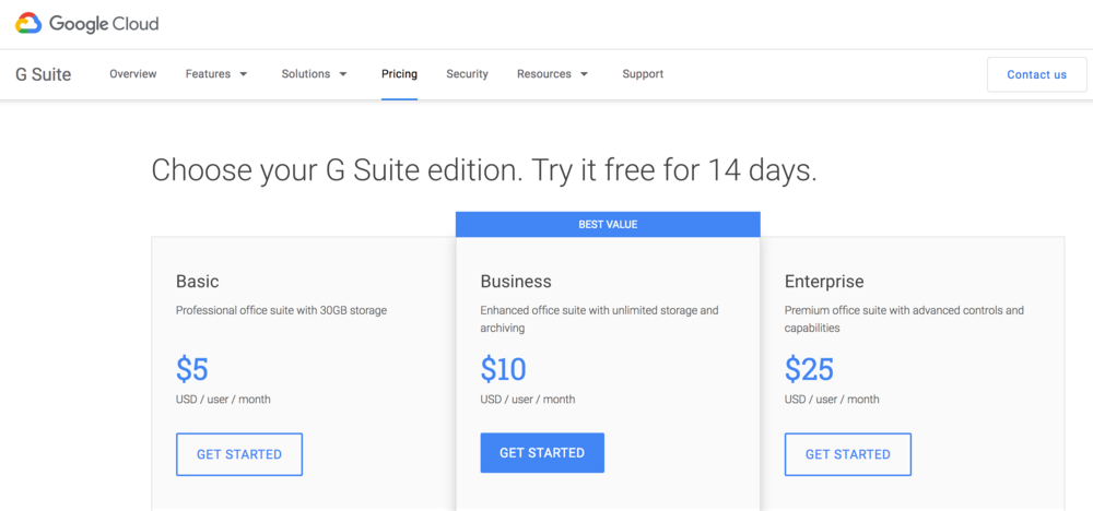 GSuite pricing