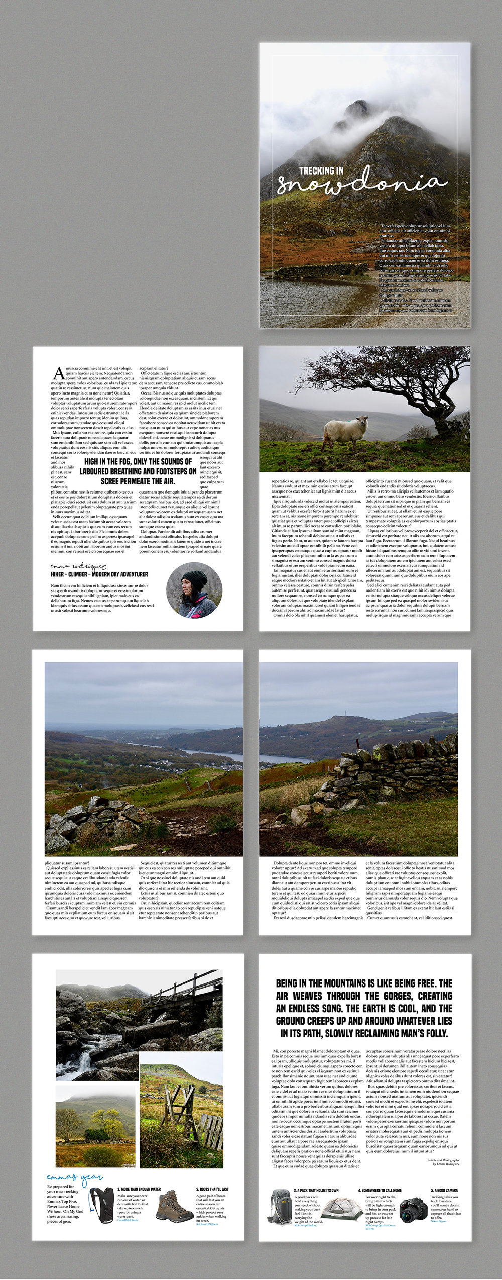 Layout Design and Photography for sample feature article for a travel publication.