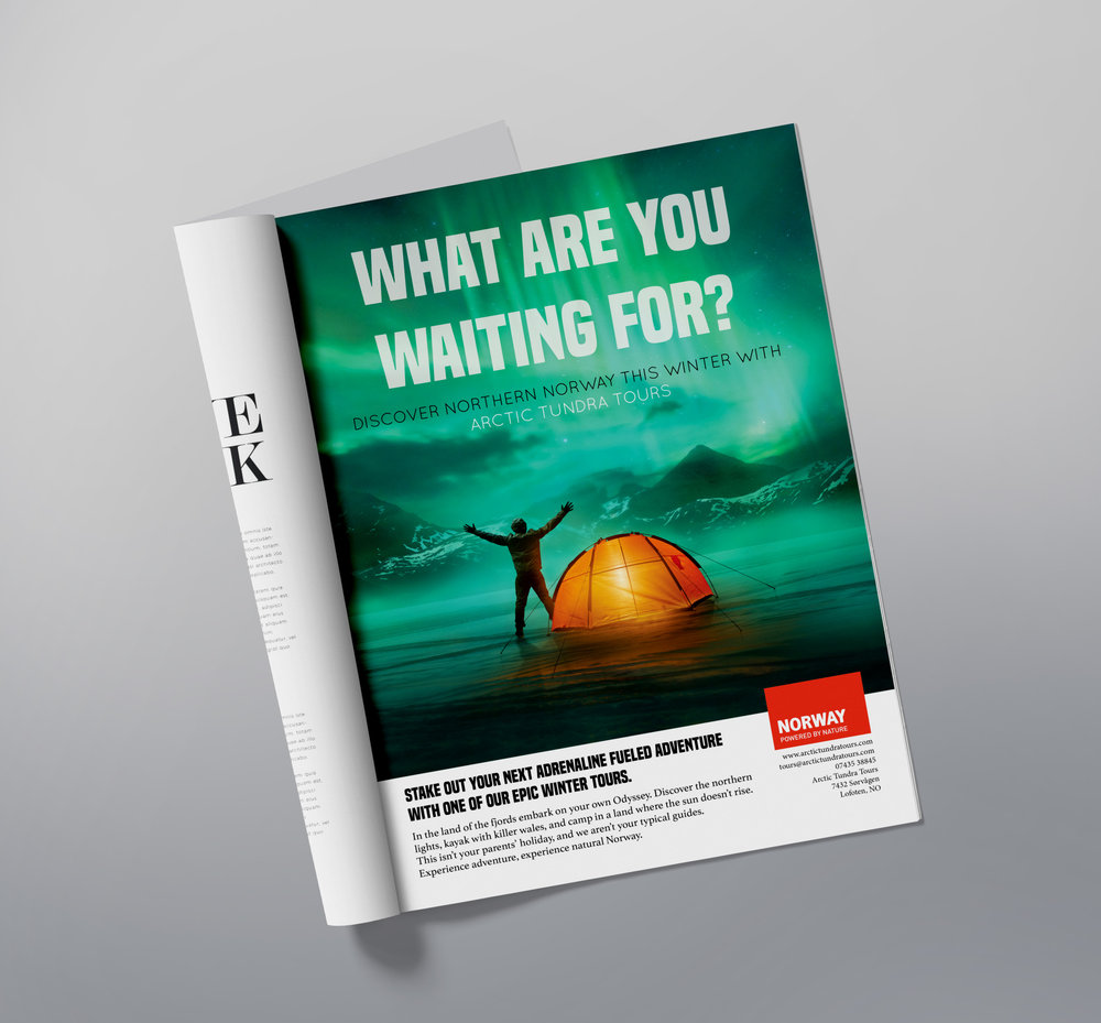 Advertisement design and copy for Norwegian tour company. Photography from Adobe Stock