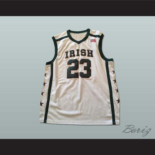 5873b4bcb0a LEBRON JAMES 23 FIGHTING IRISH HIGH SCHOOL BASKETBALL JERSEY WHITE. Lebron  Irish Stars 1.jpg