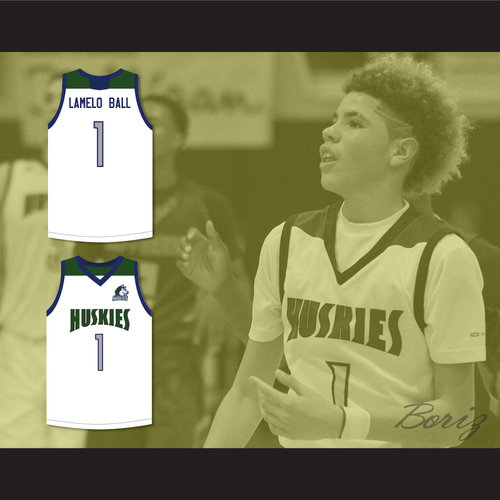 1982265e3c1 LaMelo Ball 1 Chino Hills Huskies White Basketball Jersey with Patch ...