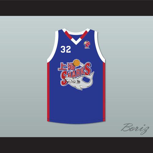 54630b74d16b Jimmer Fredette 32 Shanghai Sharks Alternate Blue Basketball Jersey with CBA  Patch. Fredette Shanghai Sharks 32 B2 1.jpg