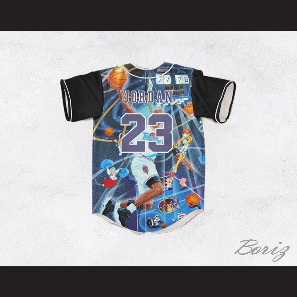 231fd4406bf9 Michael Jordan 23 Space Jam Montage Graphics Baseball Jersey — BORIZ
