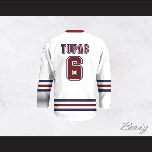 Tupac Shakur 6 Life Goes On White Hockey Jersey