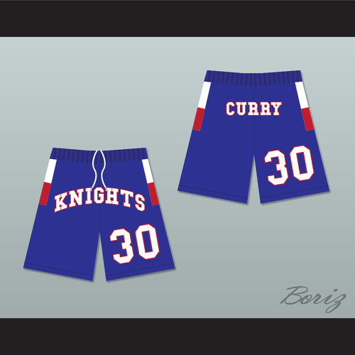 1d5e856ebb6b Stephen Curry 30 Charlotte Christian High School Knights Blue Basketball  Shorts