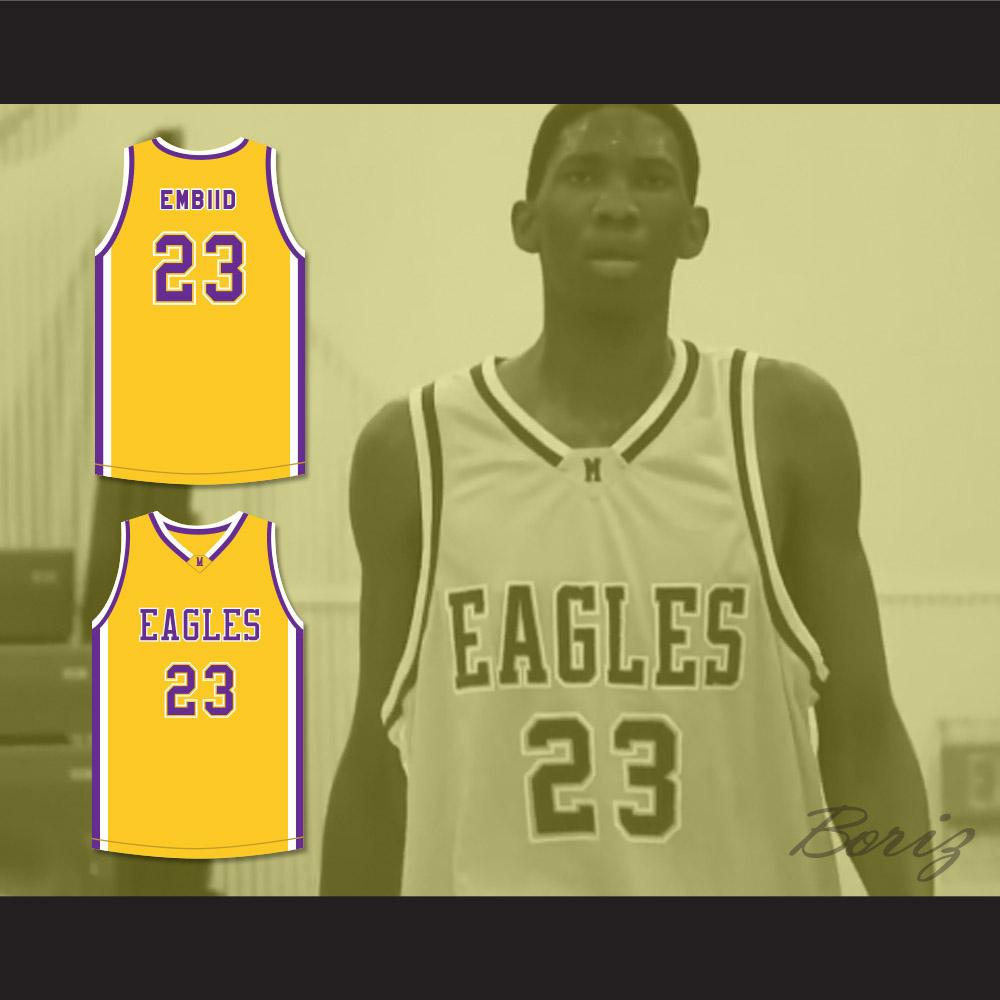9173d1b3e43 Joel Embiid 23 Montverde Academy Eagles Yellow Basketball Jersey — BORIZ