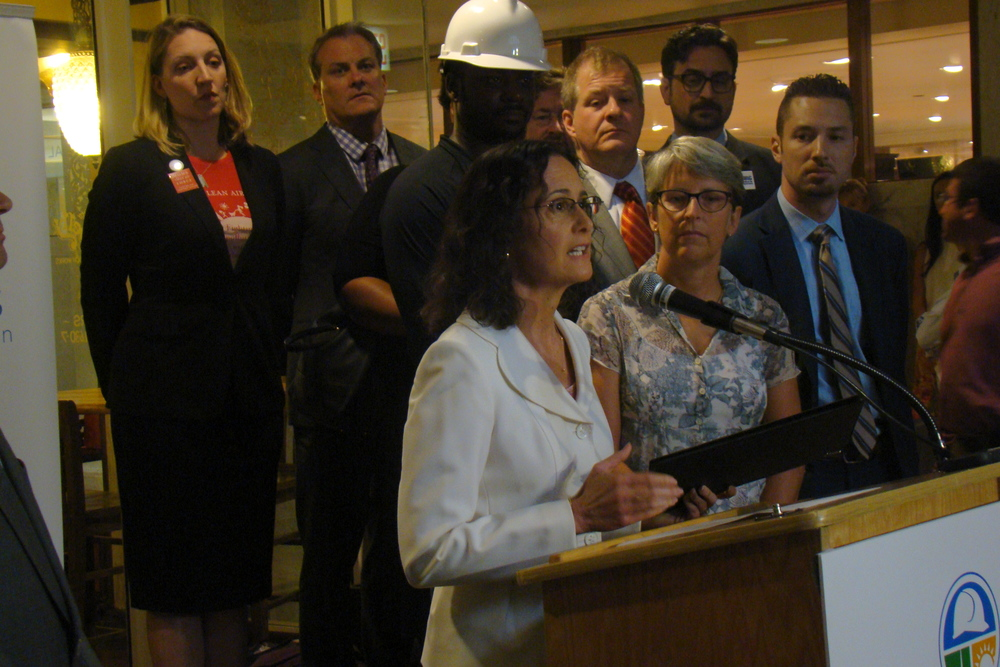 Attorney General Madigan campaigning for wind and solar subsidies last August.