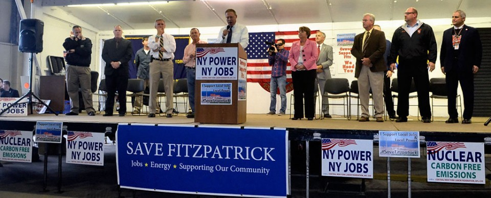 Oswego community rallies for Fitz with signs emphasizing nuclear jobs and carbon-free power.