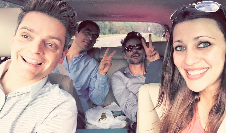 James Hansen Courage Award Winners Jim Vaughn (far left) and Sarah Spath (far right) driving from victory rally in Albany, NY to a community celebration in Oswego, NY. In the back seat is Cesar Penafiel (EP, Director of Analytics) and Michael Shellenberger (EP, President)