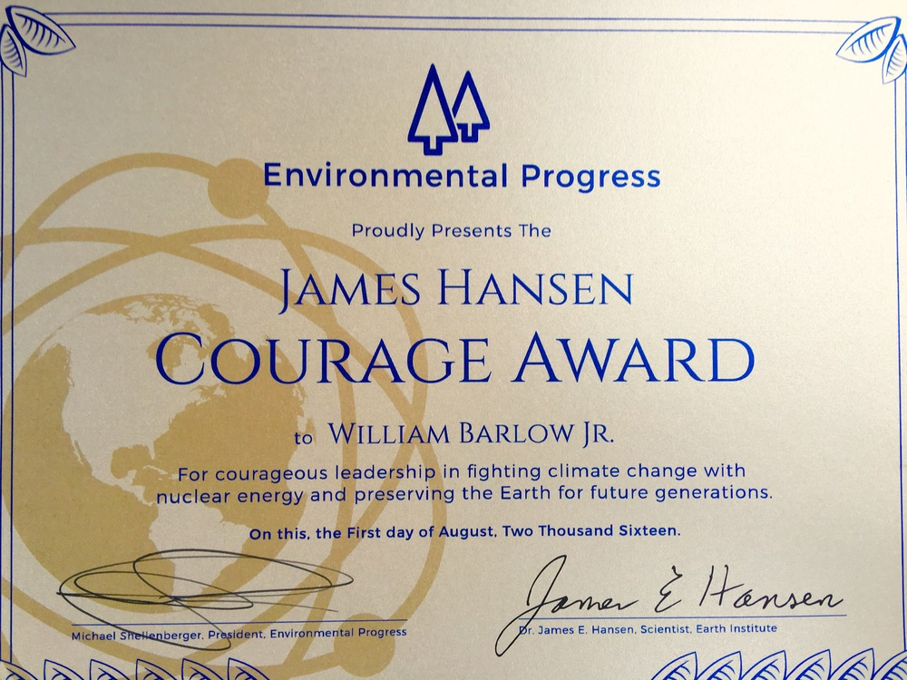 EP gave the James Hansen Courage Award to the community leaders of Oswego, NY for their efforts saving New York nuclear plants. Without their tenacity, yesterday's victory likely would not have happened. (William Barlow, Jr., is the 25 year-old mayor of Oswego.)