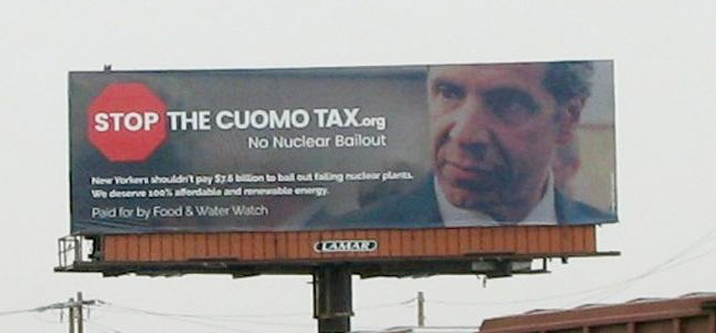 Food and Water Watch's anti-nuclear billboard in Albany