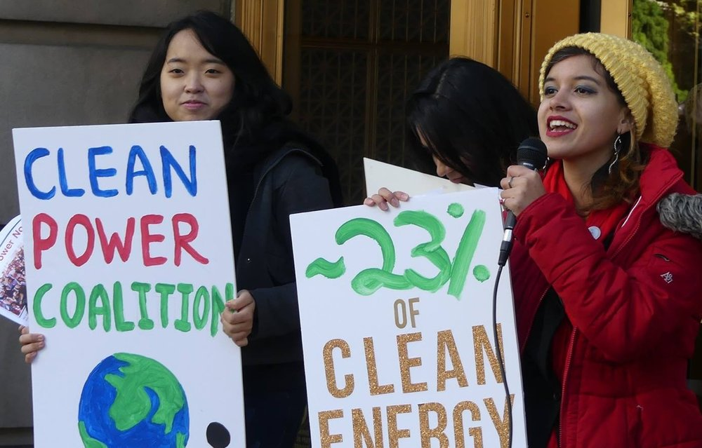 Students protesting to save Illinois nuclear plants at anti-nuclear group ELPC headquarters in Chicago in October 2016.