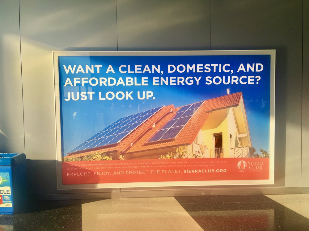"Sierra Club advertisement claiming solar panels move us ""beyond mining"""