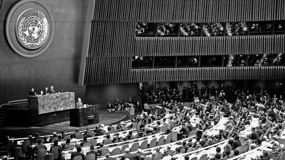 "President Dwight Eisenhower at his ""atoms for peace"" speech at UN General Assembly"