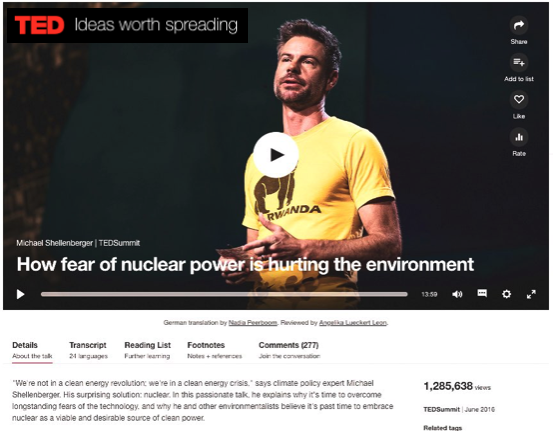 """TED: """"Why Fear of Nuclear Hurts the Environment,"""" 2016  (video)"""