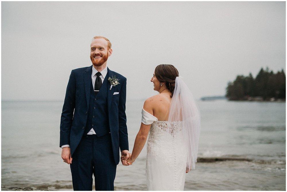 Newcastle Island BC Wedding bride and groom portrait