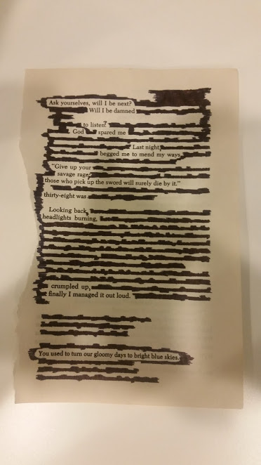 Simple blackout poetry example