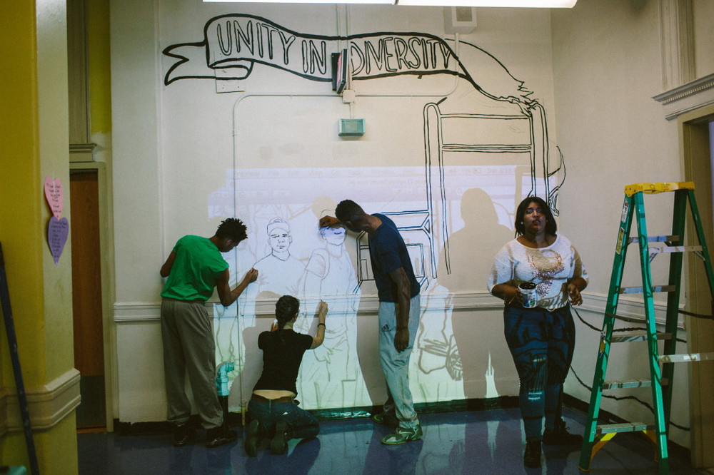 Park Slope Collegiate students sketch out their mural