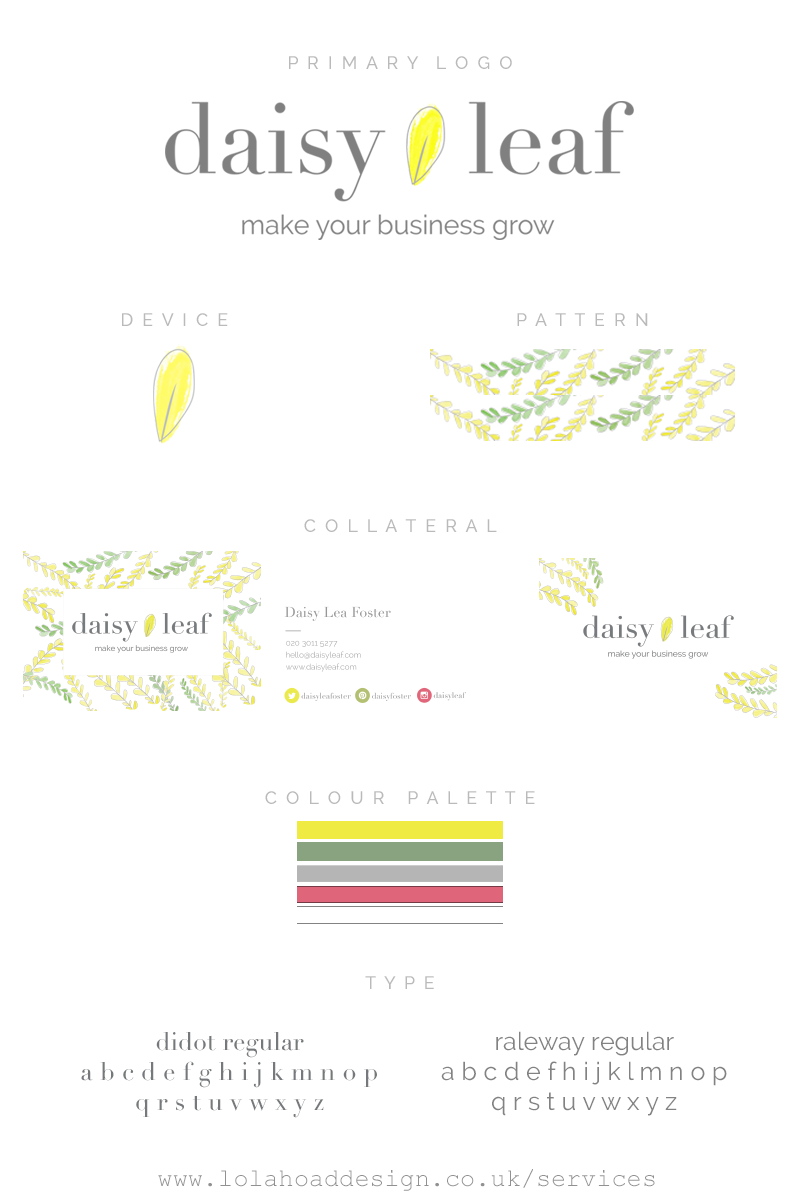 An example of a brand style guide I created for Daisy Leaf
