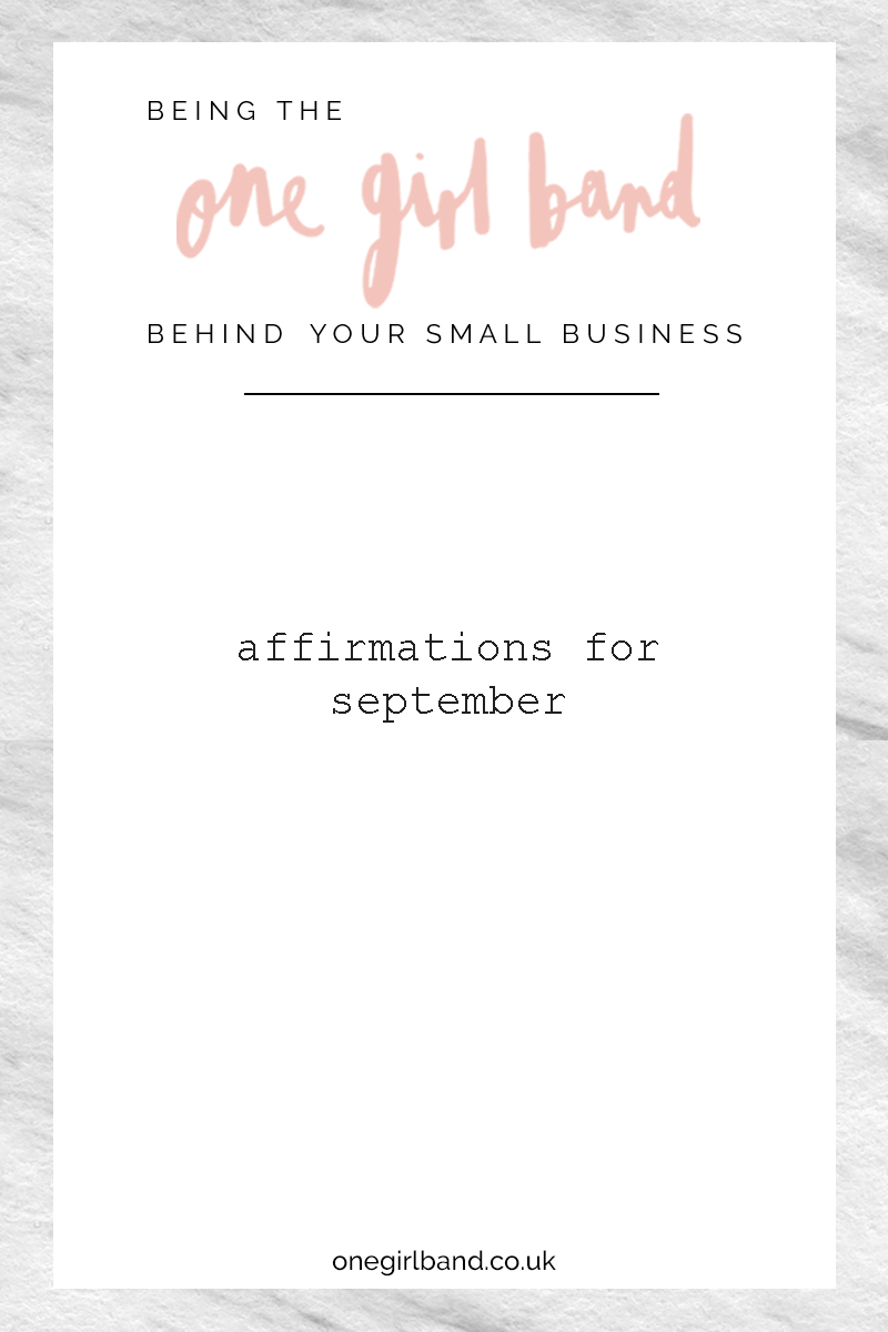 Affirmations for September for creative women in business