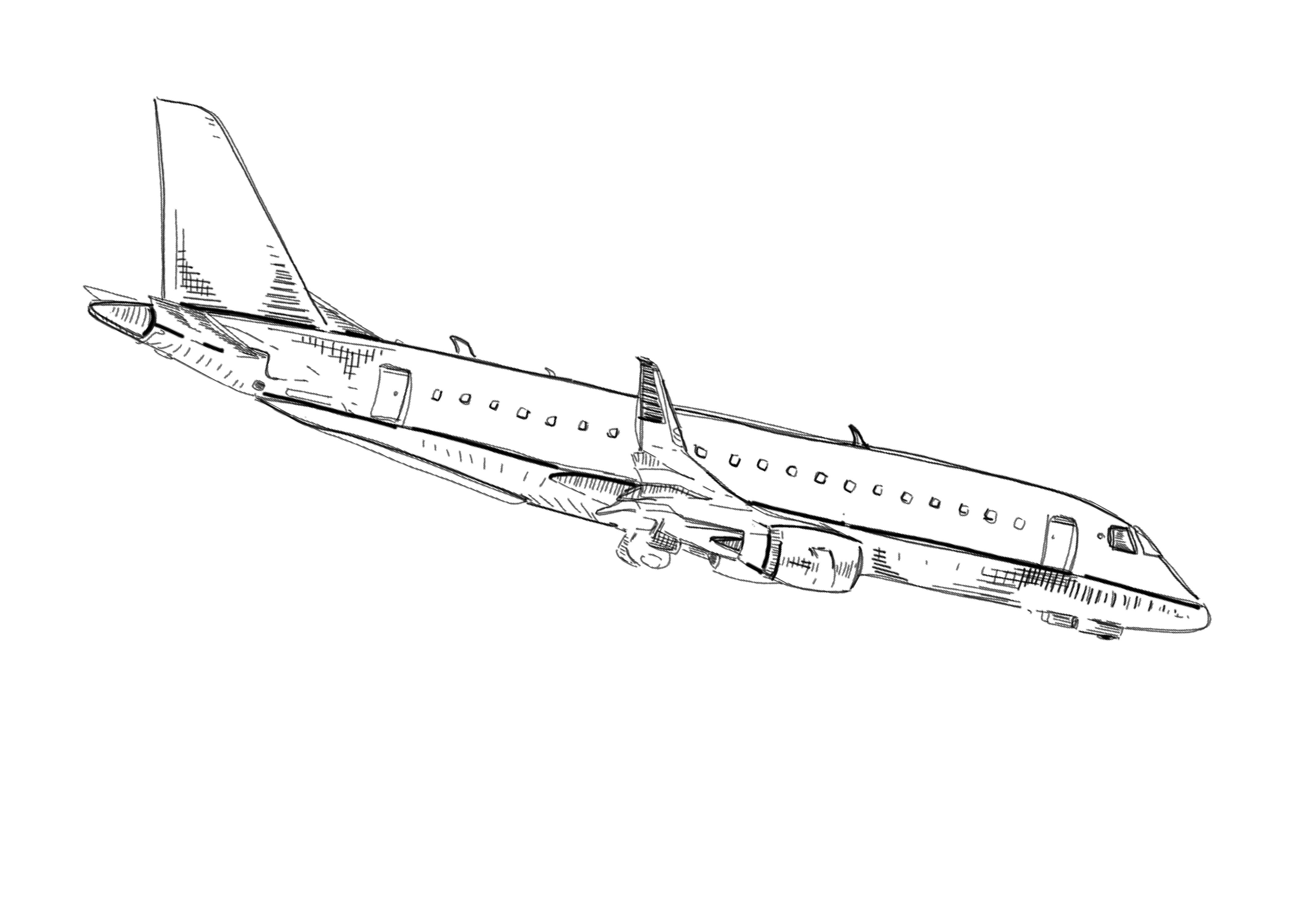 airplane landing drawing