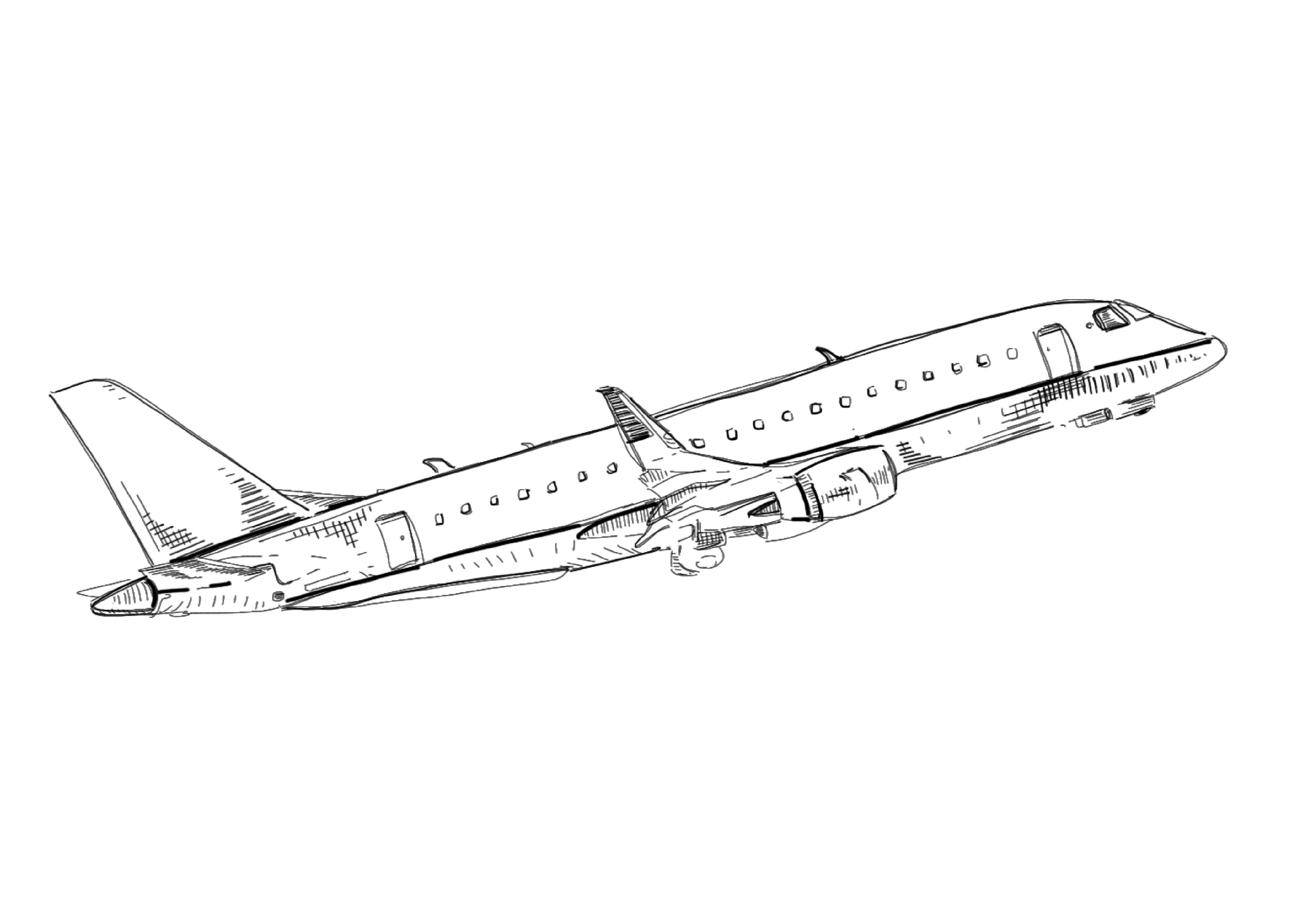 airplane taking off drawing