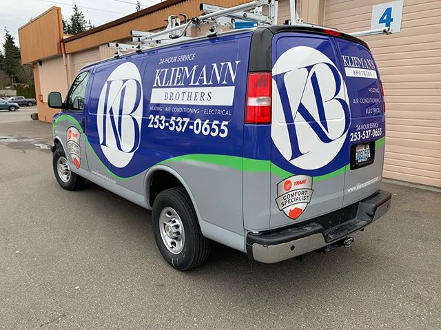 One of our longest customer relationships, @kliemannbros had a new express wrapped up with their new branding. #signdog #wraps