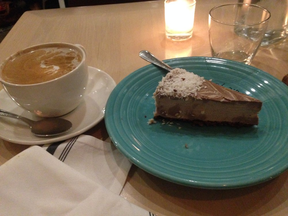 Raw coconut cream pie and turmeric latte which the staff kindly blended dates into instead of honey for me.