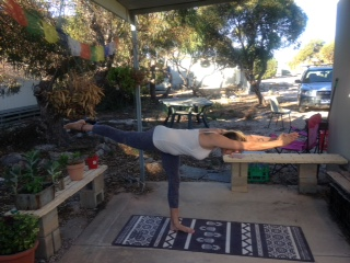 A not so balanced balancing stick. Trying not to cringe at my lack of form. Acceptance. Love Compassion. Acceptance. Love Compassion... At least I have a beautiful space to practice in!