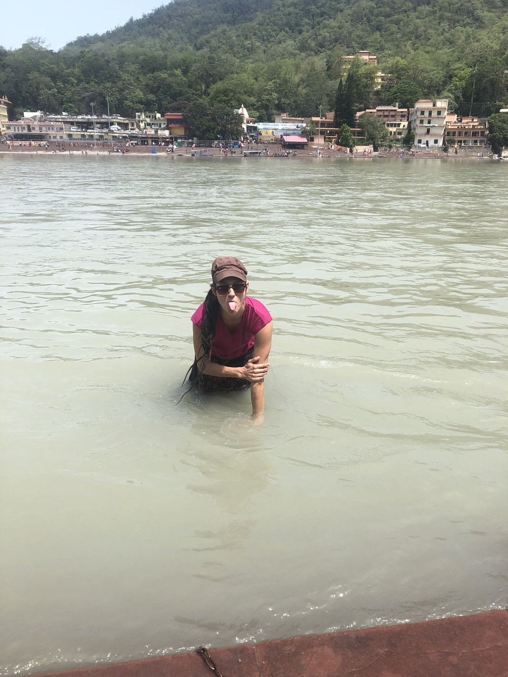 Washing away my sins in the Ganga at Rishikesh. Taking it very seriously of course.