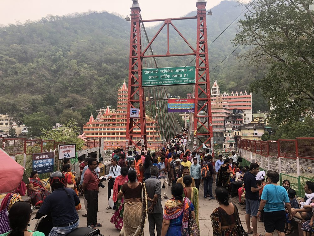 Ram Jhula Bridge Rishikesh. A royal pain in the ass to cross, too many dickheads crossing with motorcycles =(
