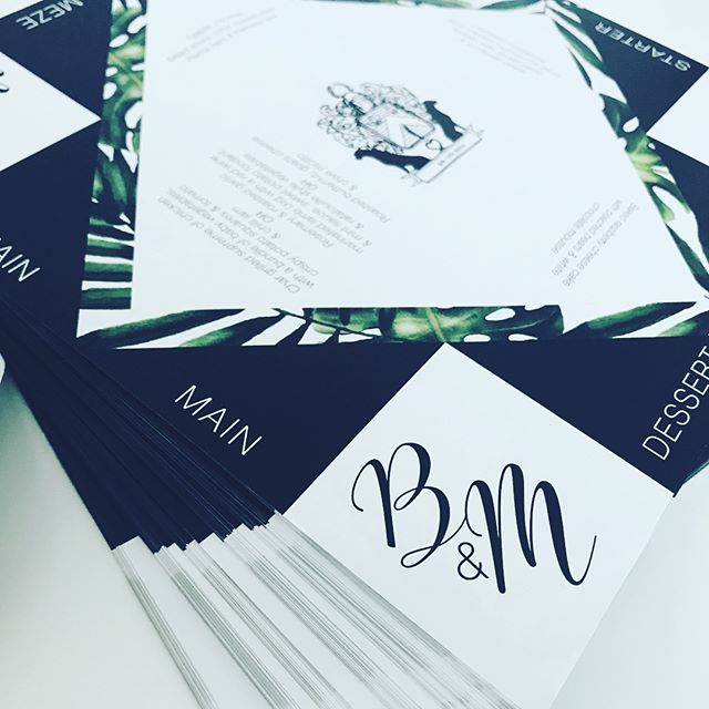 Bianca and Matthew are tying the knot tomorrow!  Check out their fun #chatterbox #menus I created for them.  #black #white #tropical #monogram #familycrest #cootiecatcher #wedding #onthedaystationery #weddingstationery #rudedesign