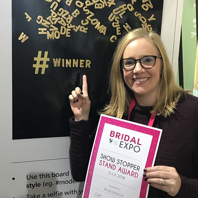 Look what I got!! 😊  What an amazing weekend at the @oakfieldfarmweddingvenue Bridal Expo!  A BIG thank you to everyone who braved the very chilly weather to come say hello - I loved chatting to you all!  The winner of our Instagram competition 'Hashtag your wedding style' will be announced very shortly!  #rudedesign