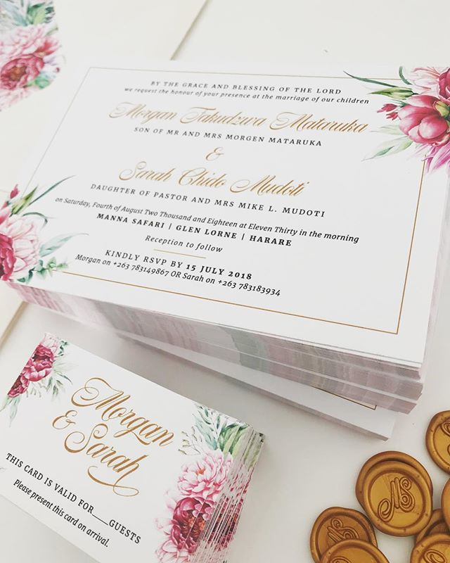 Wishing Sarah and Morgan a happy wedding day tomorrow! ❤️ . . . #elegant #brightflorals #weddinginvite #gold #wedding #weddingday #weddinginspo #invitationsuite #invitations #invitationdesign #weddinginvitation #waxstamp #waxseal #rudedesign
