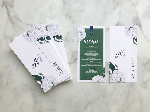 Pretty menus delivered to the Bride today!  Styling board: @thecreativebarn . . . #botanicals #greennavywhite #marble #peony #personalisedmenu #weddingstationery #onthedaystationery #weddingstationerydesigner #rudedesign