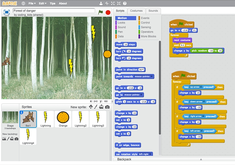 Forest of danger - a wonderful game for Scratch beginners