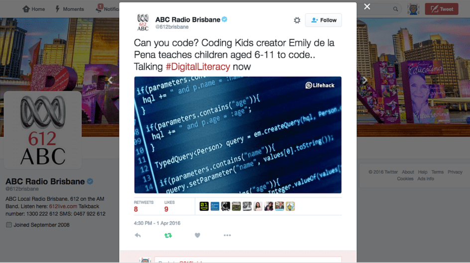 David Iliffe interviews Coding Kids creator Emily de la Pena on 612 ABC Radio Brisbane. David and Emily discuss the importance of learning to code. Click on image to listen to the radio interview.