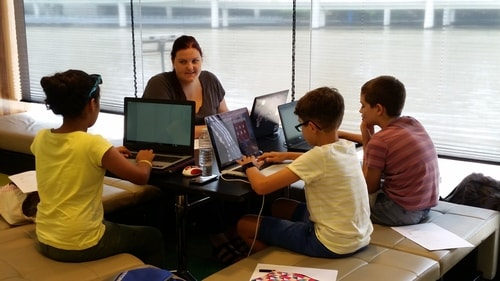 Having fun during school holidays at the Python Code Camp.