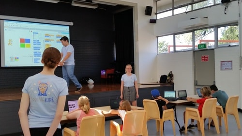Building our first computer games during school holidays at the Scratch Code Camp.