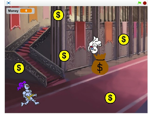 A game we made in Scratch: Knight collects the coins in the castle