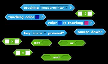 Some Boolean blocks in Scratch!
