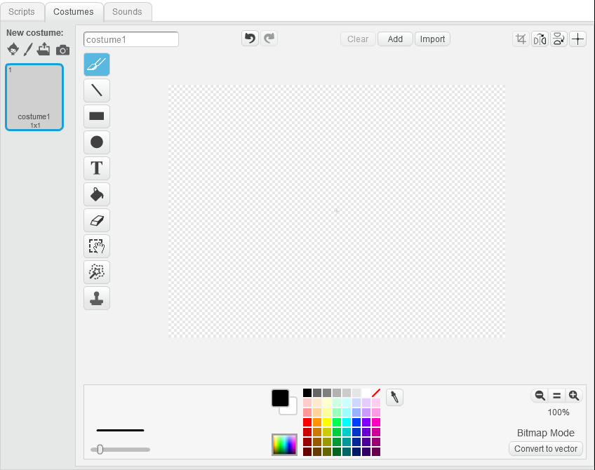 You can create your own sprites in Scratch via the Costumes tab.